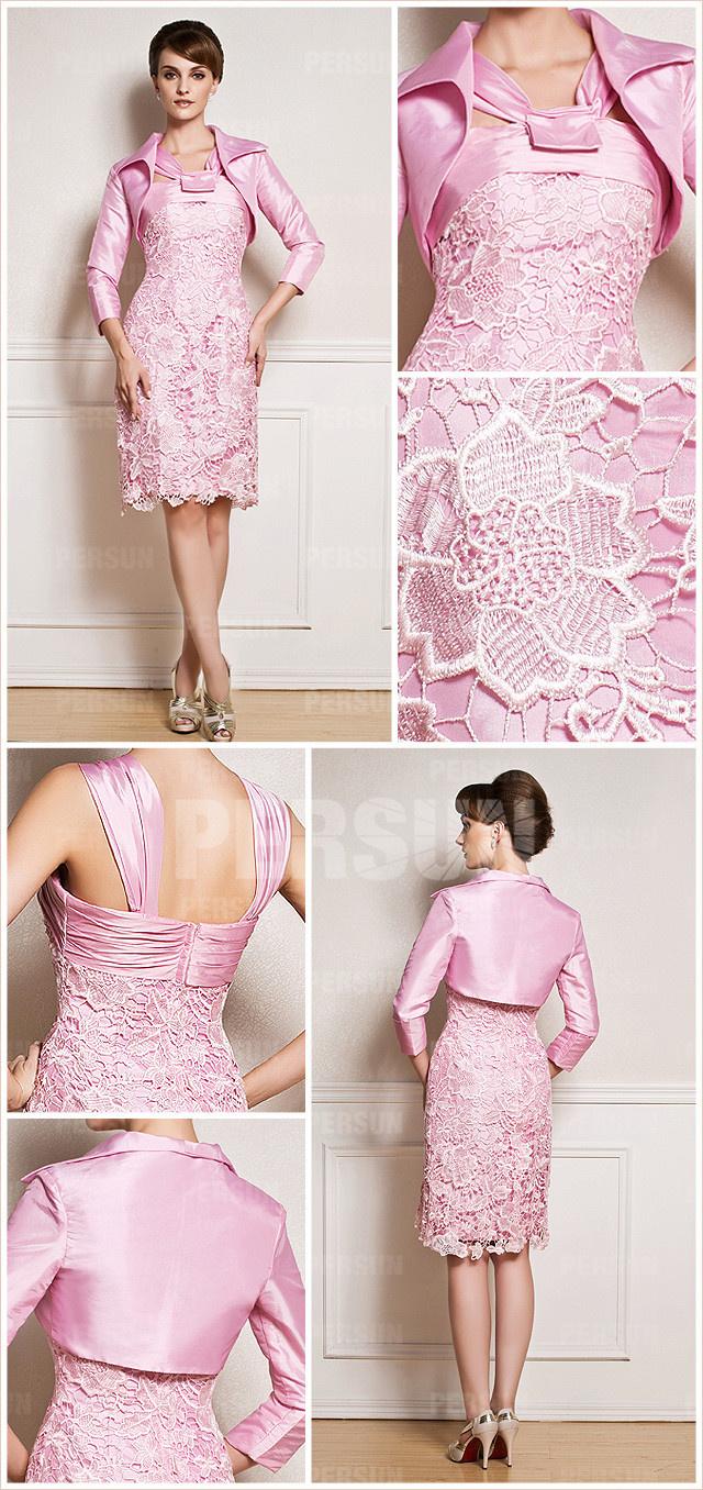 tenue rose courte rose dnetelle colonne pour assister à un mariage