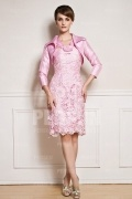 Pink Knee length Mother of the bride dress with jacket