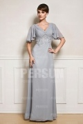 Gray Appliques V neck Mother of the Bride Dress
