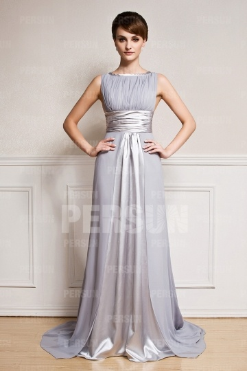 Dressesmall Gray Sash Court train Chiffon Formal Evening Dress