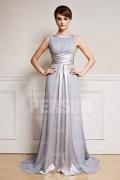 Gray Sash Court train Chiffon Formal Evening Dress
