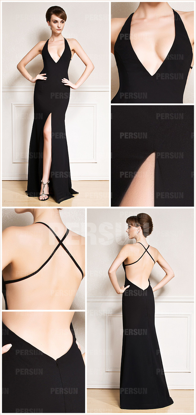 Sexy sheath v neck sweep train chiffon black split front evening dress details