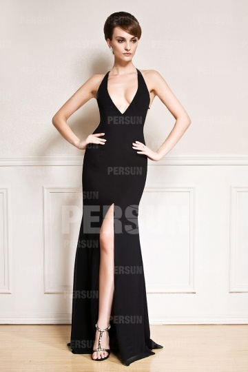 Dressesmall Sexy Backless Low V High Split Halter Chiffon Evening Dress