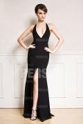 Sexy V-Ausschnitt Etui-Linie schwarzes Rückenfreies Abendkleid aus Chiffon