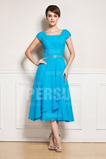 Dressesmall Simple Chiffon Ruching Blue Short Sleeve Mother of the Bride Dress