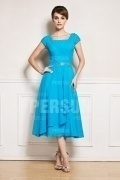 Simple Chiffon Ruching Blue Short Sleeve Mother of the Bride Dress