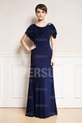 Draping neckline Cap Sleeves Chiffon Long Evening gown in Blue tone