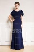 Elegantes A-Linie Bodenlanges blaues Abendkleider aus Chiffon