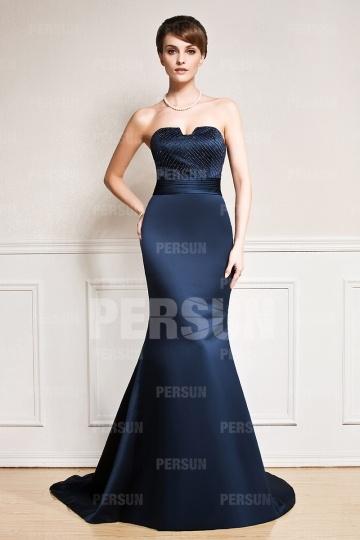 Elegant Meerjungfrau Satin Blau Abendkleider mit Hof Schleppe Persun