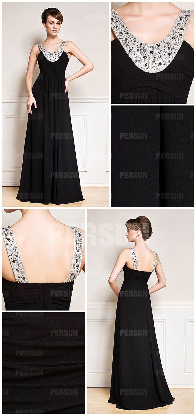 Gorgeous scoop a line sweep train chiffon black formal evening gown details