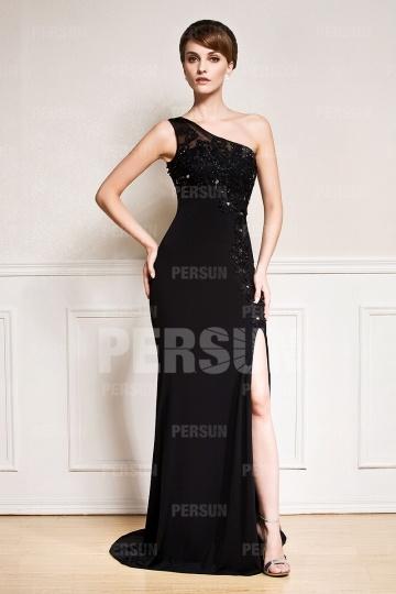 Sexy Etui-Linie Ein Schulter schwarzes Abendkleider aus Chiffon Persun