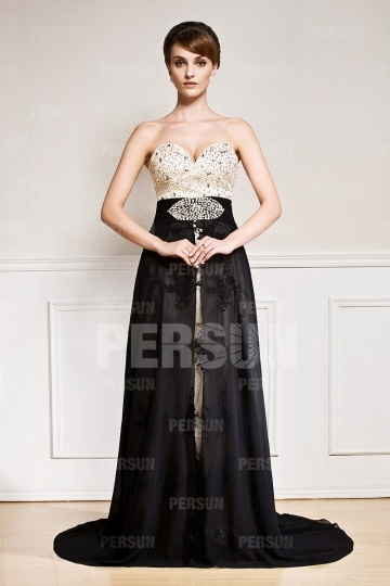 Dressesmall Gorgeous Color block Court train Chifon Prom Dress