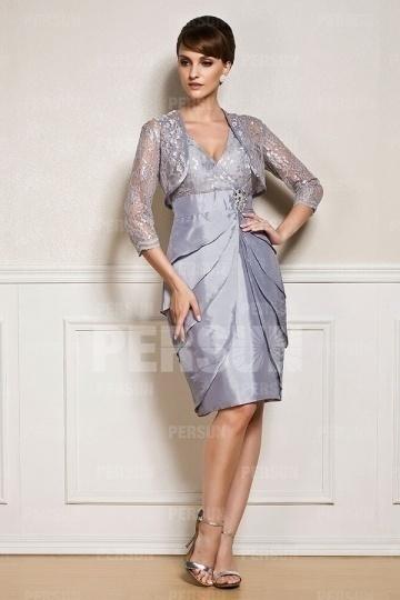 Elegantes A-Linie V-Ausschnitt Knielanges Abendkleid aus Taft Persun