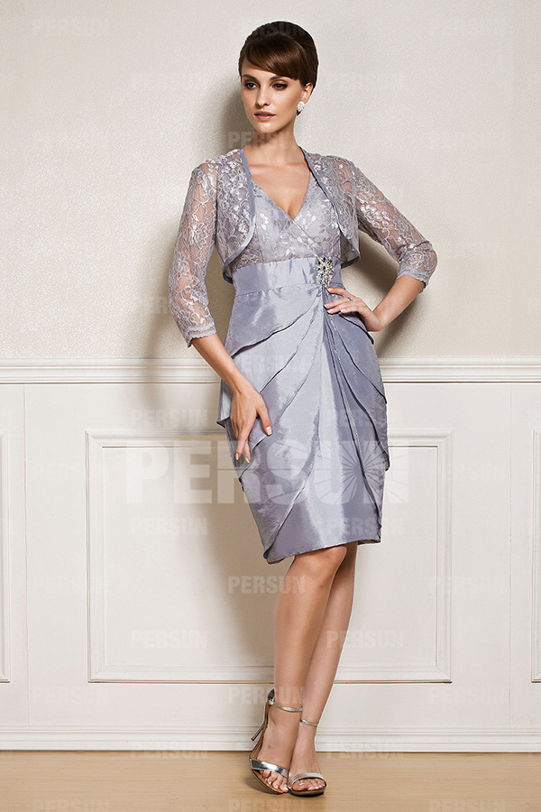 Rüsche Jacke V-Ausschnitt A-Linie faltenrock Silber Brautmutterkleid aus Taft
