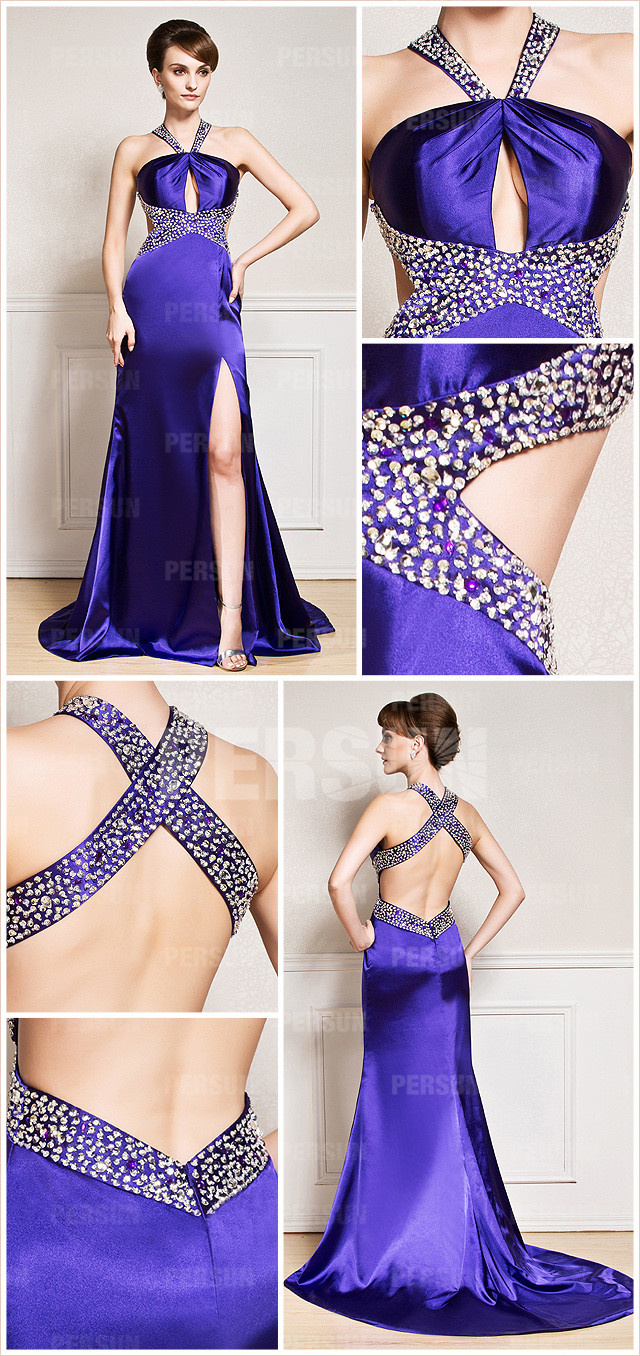 Sexy split front backless beaded satin purple long evening dress