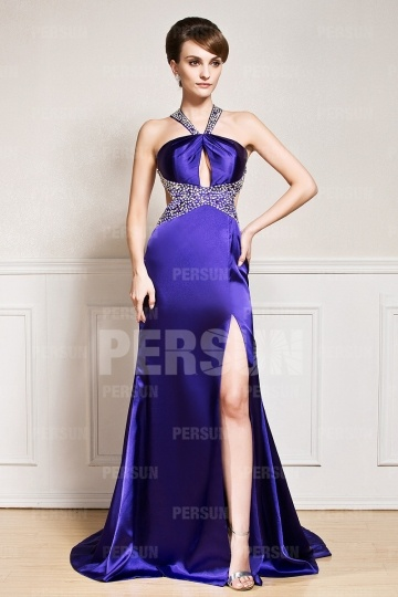 Dressesmall Sexy Split front Backless Beaded Satin Evening Dress