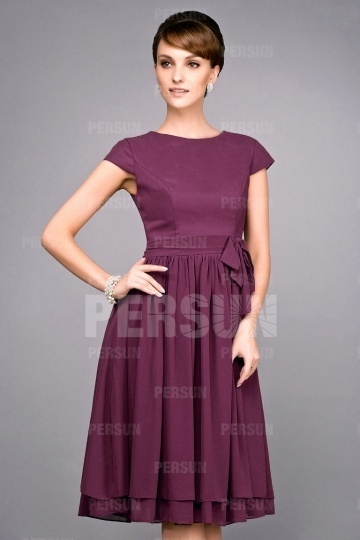 Dressesmall Simple Knee Length Short Sleeve Mother of the Bride Dress