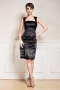 A-Linie schwarzes Halter Knielanges Abendkleider aus Satin