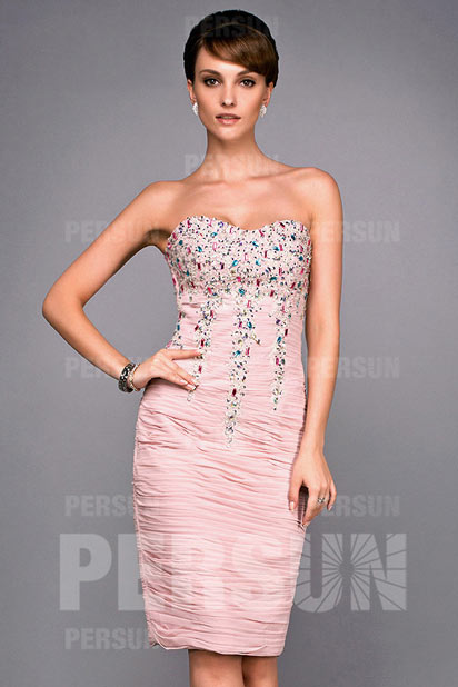 Robe bustier vague plissée fourreau avec application de strass