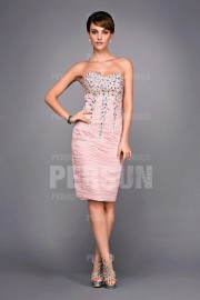 Gorgeous Pink Short Cocktail Formal gown with beading detailing