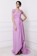 Modern Embroidery Purple Tone Chiffon Sweep Train Long Formal Dress
