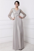 Vintage Embroidery Grey Long Sleeve Mother of the Bride Dress