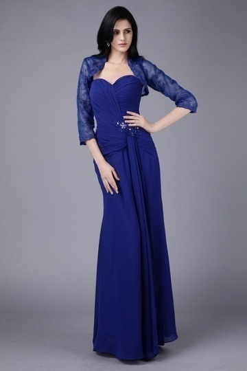 Dressesmall Strapless Chiffon Ruching Full Length Mother of the Bride Dress With Jacket