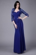 Strapless Chiffon Ruching Full Length Mother of the Bride Dress with Jacket