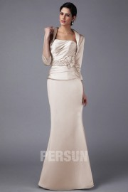 Elegant Mermaid Strapless Floor Length Mother of the Bride Dress With Jacket