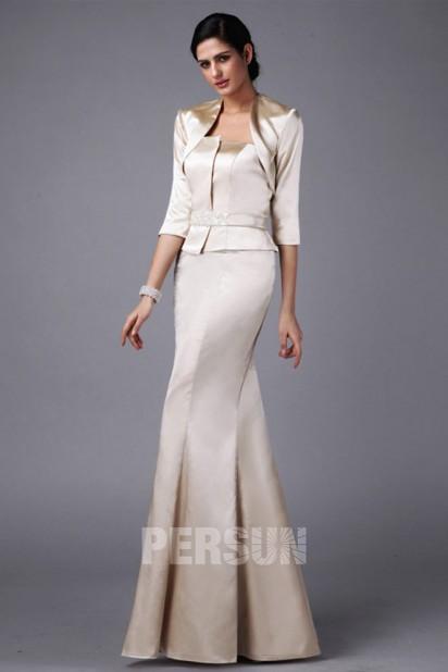 Dressesmall Elegant White Tone Mermaid Full Length Mother of the Bride Dress With Jacket