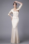 Elegant White Tone Mermaid Full Length Mother of the Bride Dress With Jacket