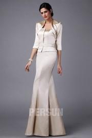 Elegant White Tone Mermaid Full Length Mother of the Bride Dress With Jacket