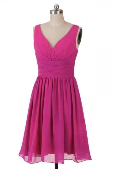 Sexy Kurzes A-Linie V-Ausschnitt fuchsia Abendkleid Persun