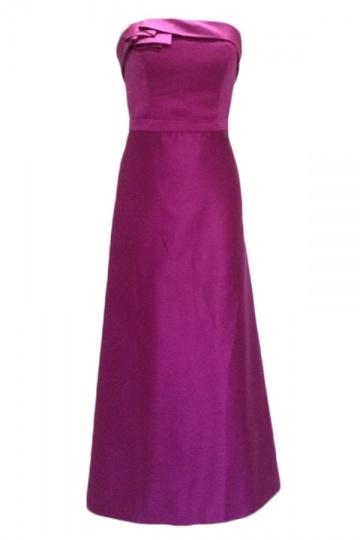 Vestido de Dama de Honor de Satén Sin Tirantes Volante Rosa Corte Recto