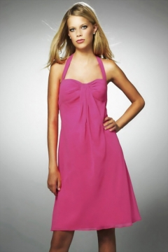Chic Halter Bow Chiffon Short Pink Bridesmaid Dress Cheap