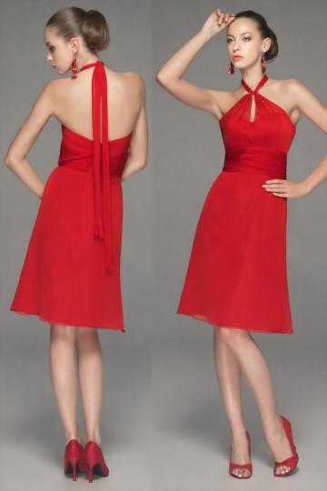 robe genoux rouge tour du cou pour demoiselle d 39 honneur. Black Bedroom Furniture Sets. Home Design Ideas