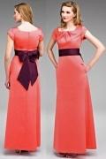 Vestido de Dama de Honor Hasta el Suelo de Satén con Escote Barco Plisado Fajines Contraste Corte Recto