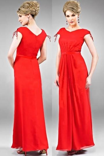 Elegante Vestido de Dama de Honor con Escote Barco Volante Corte Recto Rojo