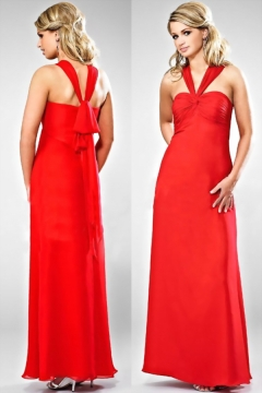 Modern V Neck Sleeveless Chiffon Floor Length Red Bridesmaid Dress