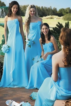 Chic Flower Strapless A Line Chiffon Long Blue Bridesmaid Dress