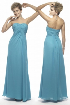 Sexy Strapless Ruching A Line Long Blue Bridesmaid Dress UK