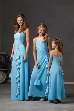 Modern Ruffles Strapless Sheath Floor Length Blue Bridesmaid Dress