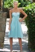 Vestido de Dama de Honor Hasta la Rodilla con Strapless Abalorio Corte A