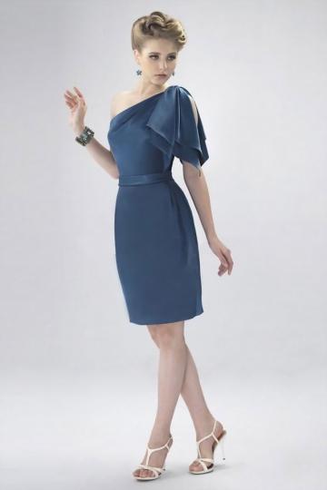 Ruffle One Shoulder Sheath Bridesmaid Dress