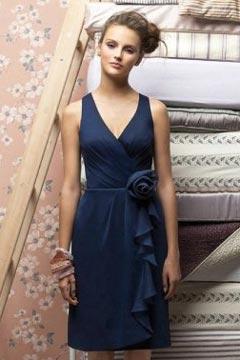 Chic V Neck Flower A Line Chiffon Knee Length Blue Bridesmaid Dress