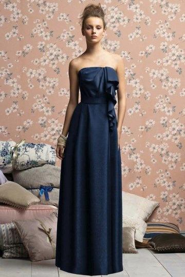 Vestido de madrinha linha-A Sem alça pregueado