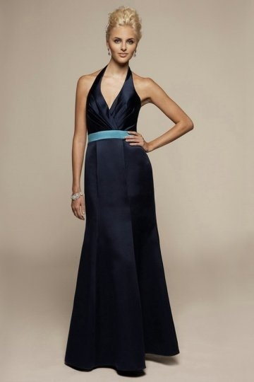Vestido de Dama de Honor con Escote en V Fajines Contraste Corte Sirena
