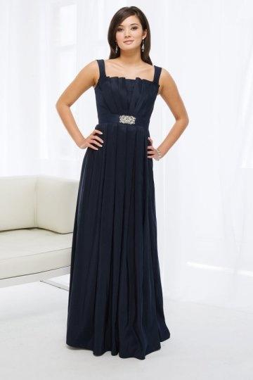 Vestido de madrinha plissado à linha-A Vestido longo com alça