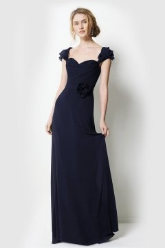 Beautiful Flower Sweetheart A Line Floor Length Blue Bridesmaid Dress