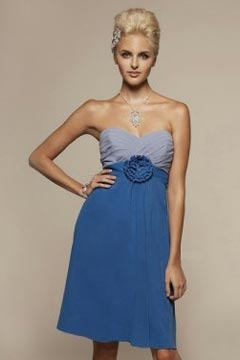 Chic Sweetheart A Line Chiffon Flower Knee Length Bridesmaid Dress